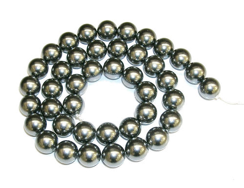 Hilos Perlas Shell color gris hematite 10 mm